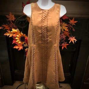 Mossimo Faux Suede Brown Cut Out Dress